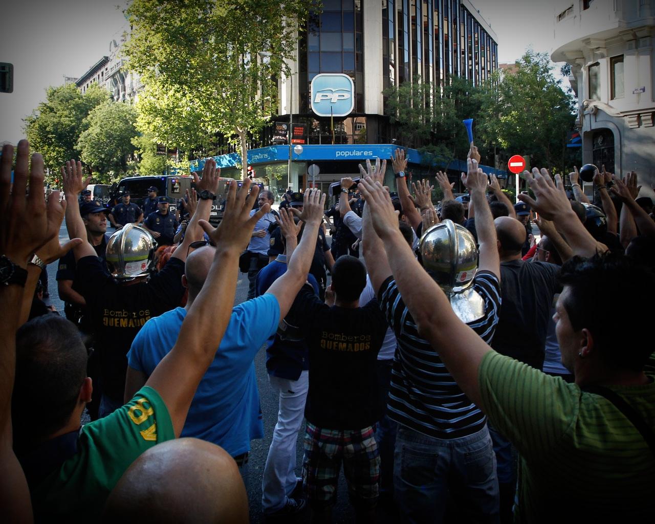 Protestas en calle Génova