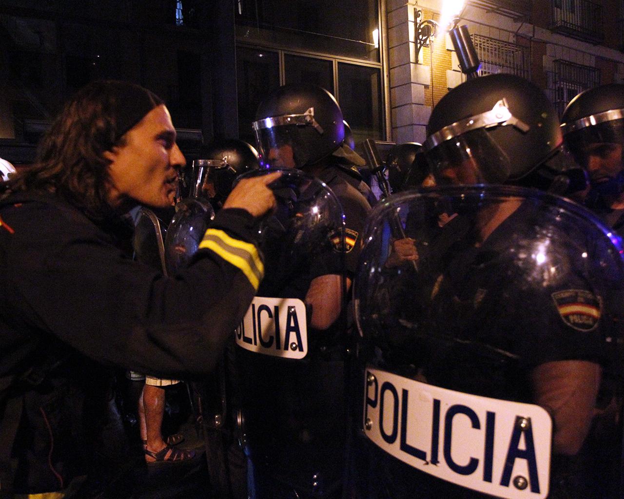 Enfrentamientos entre Bomberos y UIP tras la manifestación del 19J.